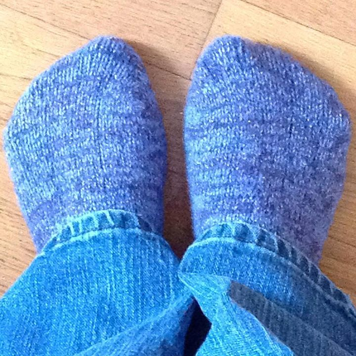 Teresa Pazur who now has this as her profile picture - blue cashmere sparkle socks